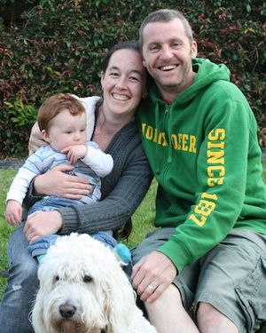 Amy, Steve and Van Oak Johnson (and Gypsy the dog)