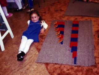 Carrie in preschool using the Number Rods