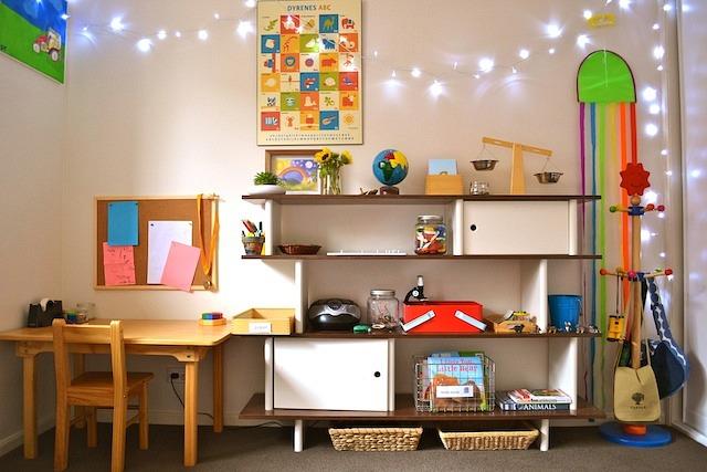 Caspar's room shelves and desk