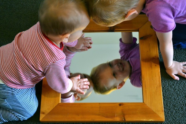 Caspar and Otis in mirror