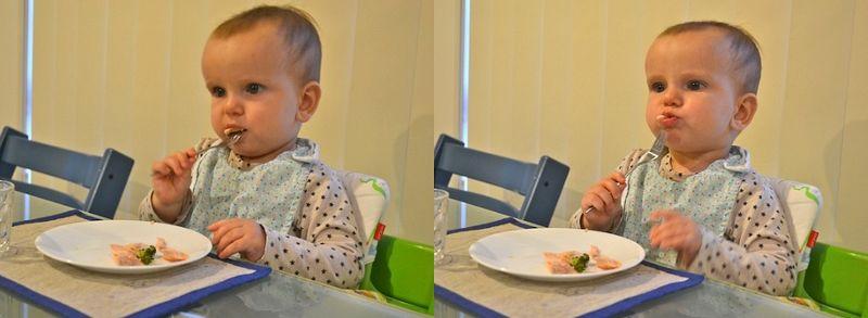 Otis eating with a fork at twelve months