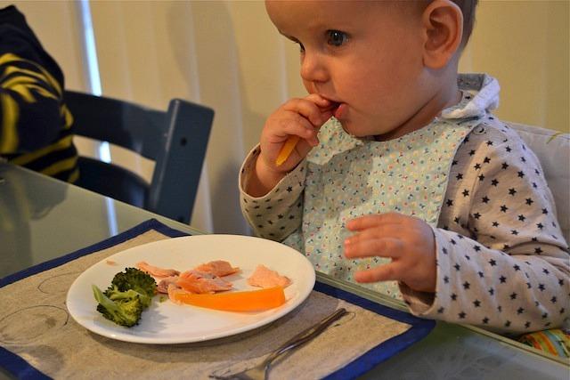 Otis eating dinner with hands