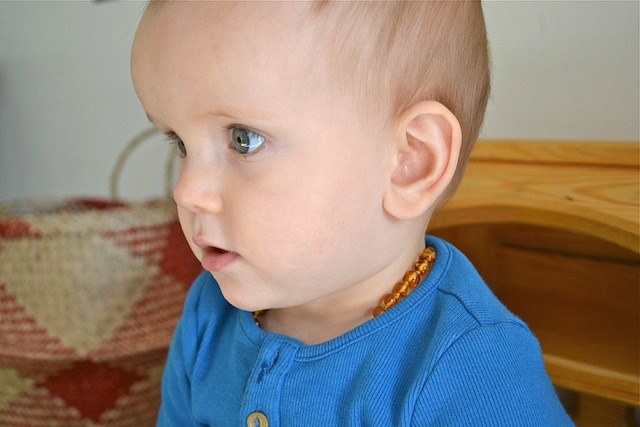 Otis with teething necklace
