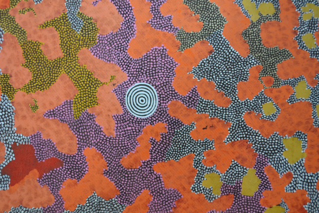 Papunya painting (in part) Budgerigars in the Sandhills 1975 by Billy Stockman Tjapaltjarri
