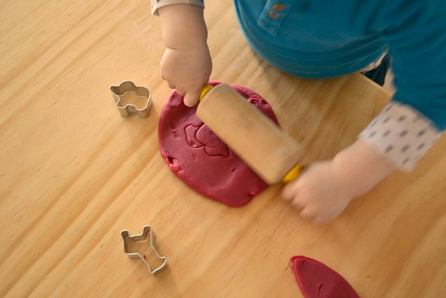 Otis rolling playdough (beetroot)