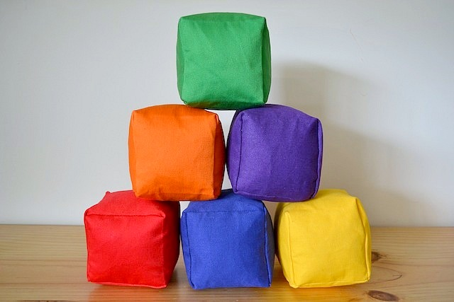 Six coloured soft blocks