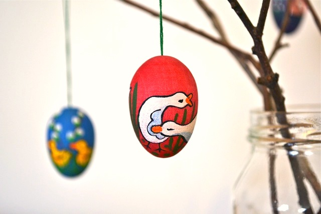 Red egg on Easter tree
