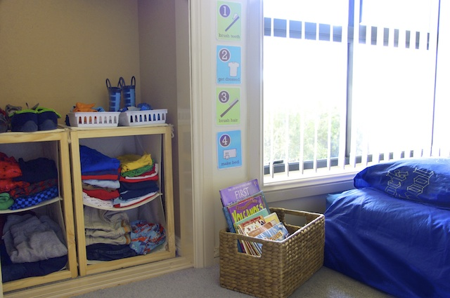 Jack's room including clothing storage and bed at three years