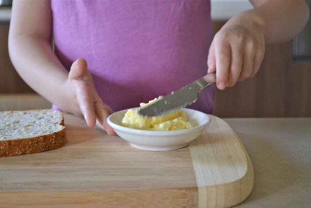 Caspar using butter