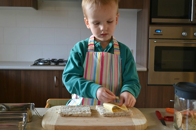 Caspar making his lunch before school