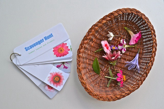 Scavenger Hunt Cards and Flowers