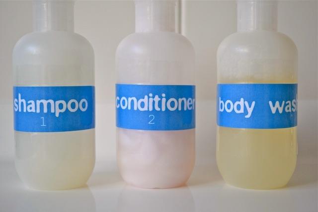 Caspar's shampoo bottles