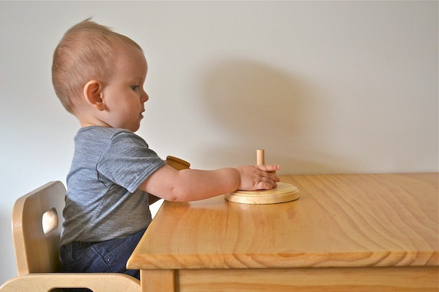 Otis with progressive ring stacker from Beginning Montessori