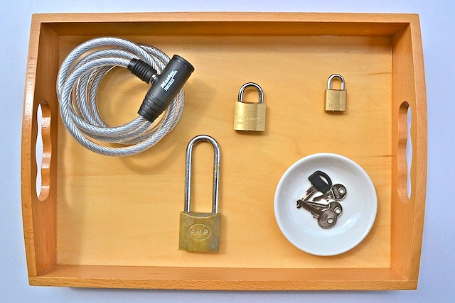 Lock and key activity on tray