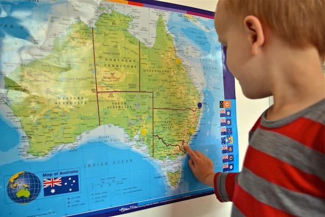 Caspar with map of Australia