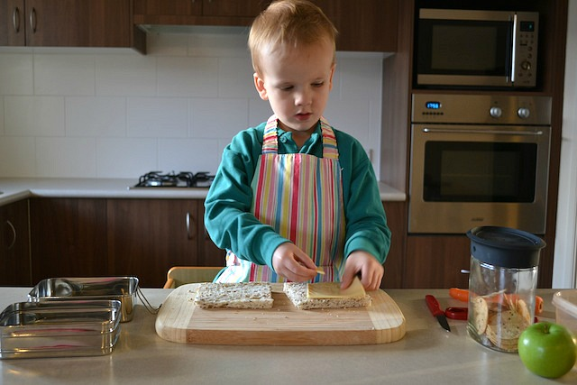 Caspar making lunch before school