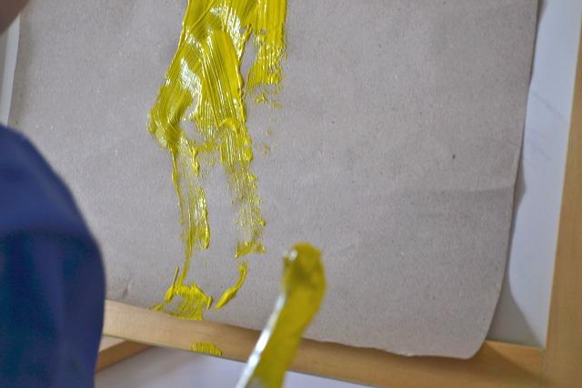 Otis with yellow paint