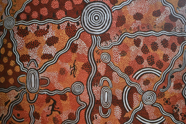 Papunya painting (in part) Life at Yuwa 1974 by Billy Stockman Tjapaltjarri and Tim Leura Tjapaltjarri